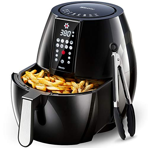Sboly 8 Mode Air Fryer with LCD Digital Touch Screen, 6.3Qt Airfryer Includes One set of Cooking Tongs and Recipe Book, with a Water-based Non-stick Coating Grill Shelf and Frying Basket