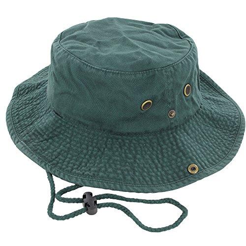 DealStock 100% Cotton Boonie Fishing Bucket Men Safari Summer String Hat Cap (15+ Colors) Dark Green L/XL