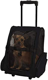 MAOSHE Pet Bag Oxford Cloth Pet Trolley Bag Out Backpack Pet Portable Backpack Breathable Pet Travel Tug Bag (Color : Black)