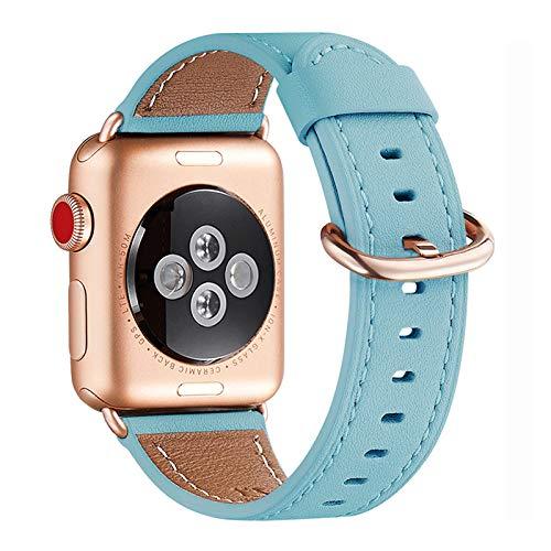 WFEAGL Correa para Correa Apple Watch 42mm 44mm 38mm 40mm, Correa de Repuesto de Cuero Multicolor para iWatch Serie 5/4/3/2/1(38mm 40mm,Azul Tiffany/Oro Rosa)