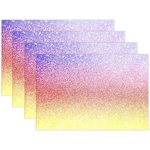 Tischsets Bunte Regenbogen Galaxy Muster Teller Matten Waschbar Stoff Hitzebeständige Tisch Tischsets Für Küche Esszimmer Set Von 6 [45X30 Cm]