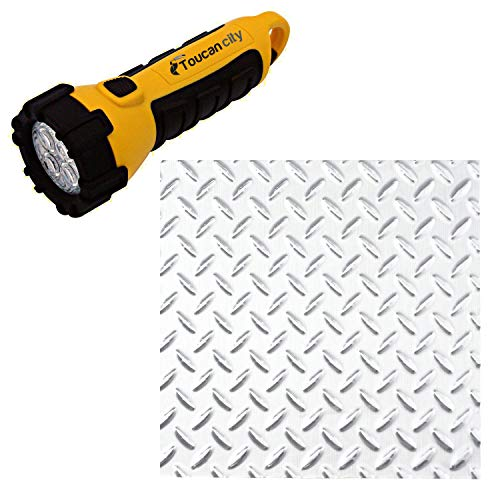 Toucan City LED Flashlight and Fasade Diamond Plate 96 in. x 48 in. x 0.013 Decorative Vinyl Wall Panel in Brushed Aluminum C66-08