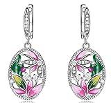 XIRENZHANG S925 - Pendientes con hebilla de seta para mujer, esmalte europeo y americano, diseño de flor de loto