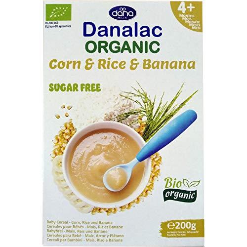 Danalac Bio Babybrei zuckerfrei 200g (Mais, Reis, Banane, 3er Pack)