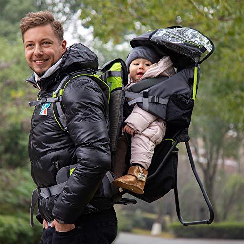 FLy Portabebe Ergonómico con Asiento Mochila Portabebés De Montaña con Protector De Lluvia Y Sol Transpirable Y Ajustable Estructurada Suave para Bebés De 3-18 Kg,Amarillo