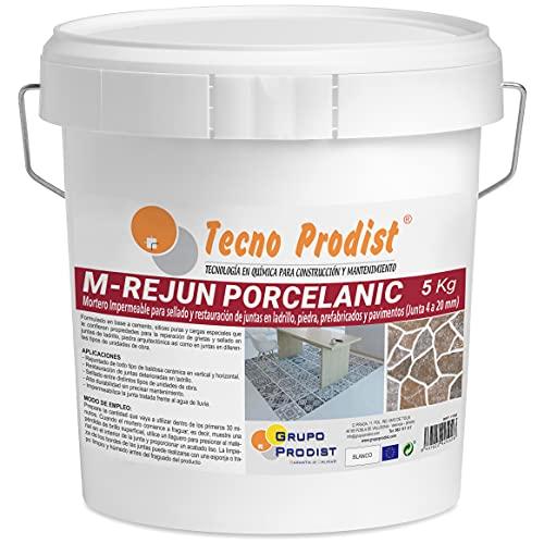 M-REJUN PORCELANIC de Tecno Prodist - (5 kg) Mortero impermeable para el sellado y restauración en pavimentos cerámicos, ladrillos, piedra, etc (Junta de 4 a 20mm) Color Blanco