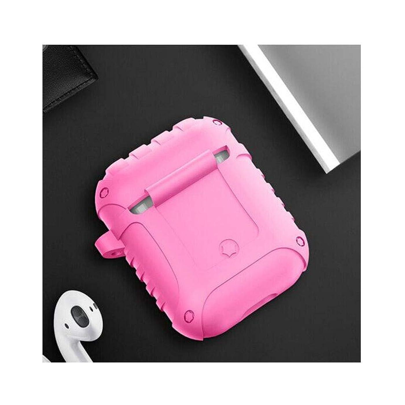 どこでも縞模様のランクFengshangshanghang Airpodsヘッドセットセット、シリコンワイヤレスBluetoothヘッドセット収納ボックス、焦げ付き防止の指紋特別セット+アンチロストフック、グリーン 絶妙な (Color : Pink)