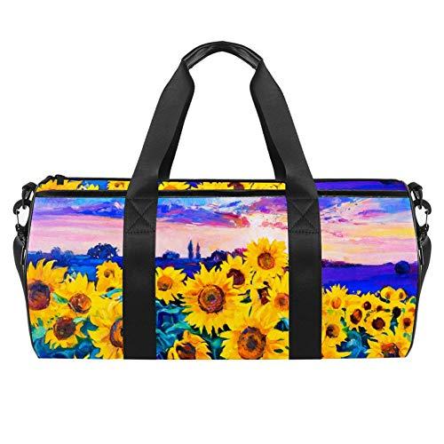 TIZORAX girasol moderno impresionismo pintura al óleo gimnasio bolsa de viaje bolsa de fitness bolsa de viaje en la azotea rack bolsa