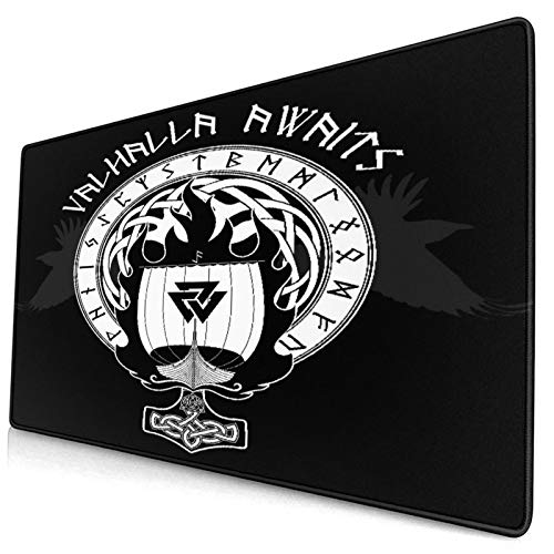 CANCAKA Large Gaming Mouse Pad,Blue Boat Warship of The Vikings Drakkar On Fire and Norse Runes Black Warrior,Non-Slip Rubber Mouse Pads Mousepad for Gaming Computer Office Desk,75×40×0.3cm