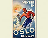 Vintage Norway Travel Print - Oslo Poster Norway Poster