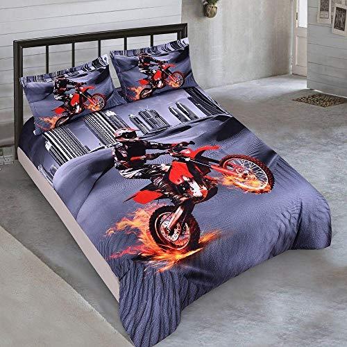 HGFHKL 3D Reiten Motorrad Bettwäsche Kit Bettbezug Kissenbezug Tiefe Tagesdecke/Bettbezug / 3 Geschenke