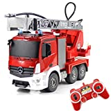 Fisca RC Truck Remote Control Fire Engine Truck 9 Channel 2.4G Hobby Electronics Toys with LED Lights Simulated Sounds for Kids