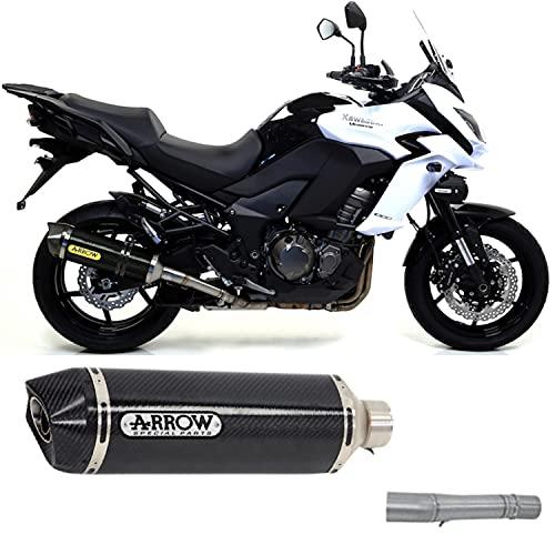 arrow auspuff kein kat zugelassen race-tech carbon endkappe carby kompatibel mit kawasaki versys 1000 2015 2016 mototopgun 71795mk + 71460mi