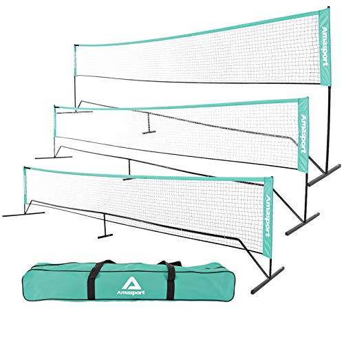 AMA SPORT Portable Badminton Net Set - Net for Tennis, Soccer Tennis, Pickleball, Kids Volleyball - Easy Setup Nylon Sports Net with Poles - for Indoor or Outdoor Court, Beach, Driveway (20)