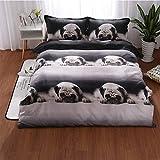 TEQIN Juego de ropa de cama 3D con diseño de perro carlino y peluche, como se muestra en la imagen, 160 x 210 cm (2 piezas/juego)