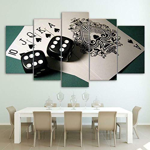 Impresiones En Lienzo 5 Piezas Cards Board Game Poker Poster HD En Lienzo Modular Modern Interior Decorations Wall Art Tamaño Regalo 150 * 80Cm.
