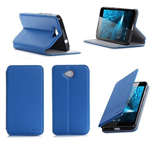 Microsoft Lumia 650 Tasche Leder Style blau Hülle Cover mit Stand - Zubehör Etui smartphone 2016 Lumia 650 Dual SIM Flip Case Schutzhülle (Handy tasche folio PU Leder, Blue) - Brand XEPTIO accessoires