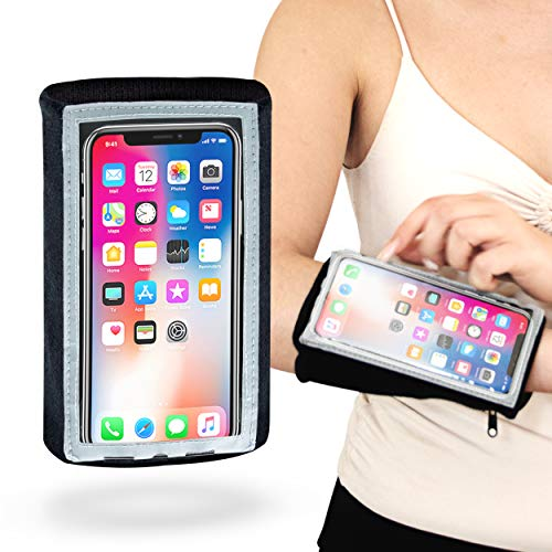 MyBand Arm Phone Holder for Running - Phone Armband Compatible with iPhone 11 Pro, XS, X, 8, 7 Samsung Galaxy S10, S9, S8, Durable, Water Resistant, Full Responsive Touch, Night Mode and Zipper Pouch
