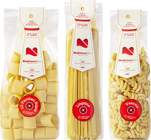 MediterraNeo - Pasta de sémola de trigo duro 100% italiana, pasta de bronce y secado lento (3 paquetes de 350 g: 1 de linguine, 1 de mezzi paccheri y 1 de vesuvios)