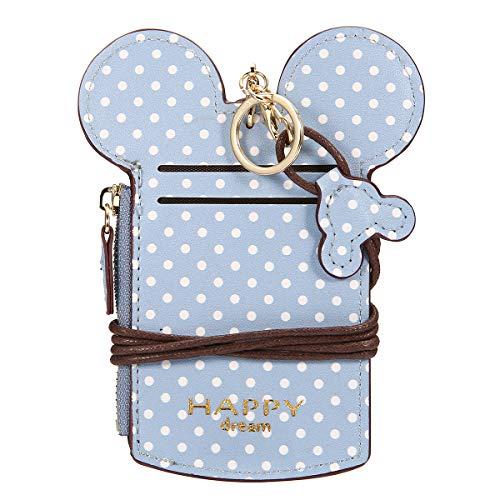 Women Cute Animal Shape Neck Bag, JOSEKO Wave Dot Card Holder Wallet Zipper Pouch Coin Purse Sky Blue