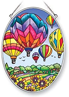Amia 41393 Colorful Hot Air Balloon 5-1/2 by 7-Inch Oval Sun Catcher, Medium