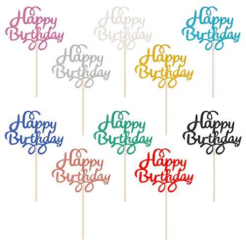 birdsunshine 50 Stck Happy Birthday Cake Topper mit 10 Farben, Geburtstag Cupcake Topper fr Alles Gute Zum Geburtstag Glitter Cake Dekoration