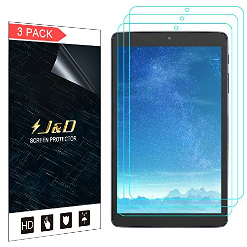 J&D Compatible for 3-Pack Alcatel A30 Tablet 8 inch Screen Protector, [Not Full Coverage] Premium HD Clear Film Shield Screen Protector for Alcatel A30 Tablet 8 inch Crystal Clear Screen Protector