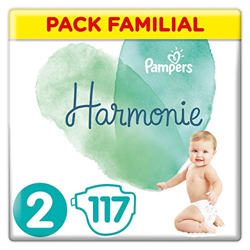 Couches Pampers Taille 2 (4-8 kg) - Harmonie Couches, 117 couches, Pack Familial