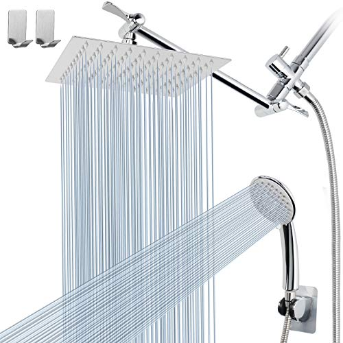 Shower Head Combo with 11'' Extension Arm,High Pressure 8' Rain Shower Head with Handheld Shower Spray and Holder/ 1.5M Hose,Dual Rainfall Showerhead Set,Chrome