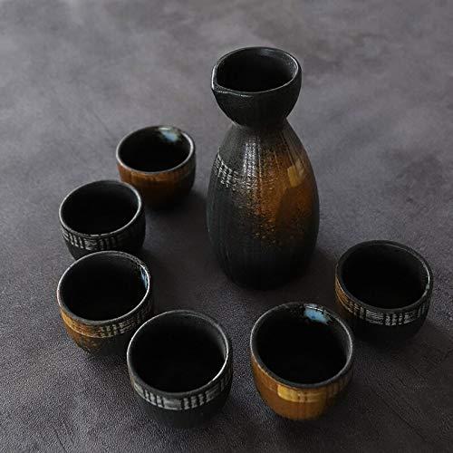 Sdvklly Juego de vinos de cerámica Japonesa Hogar cálido White Sake Separador Separador de Botella de Taza de Vino pequeño (Color : Black)