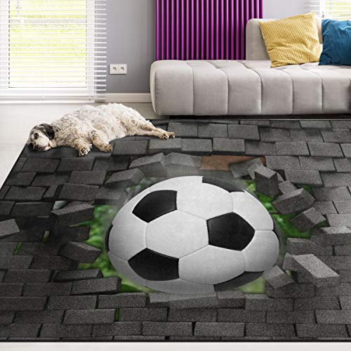 Naanle Sport Area Rug 4'x6', Football Soccer Polyester Area Rug Mat for Living Dining Dorm Room Bedroom Home Decorative