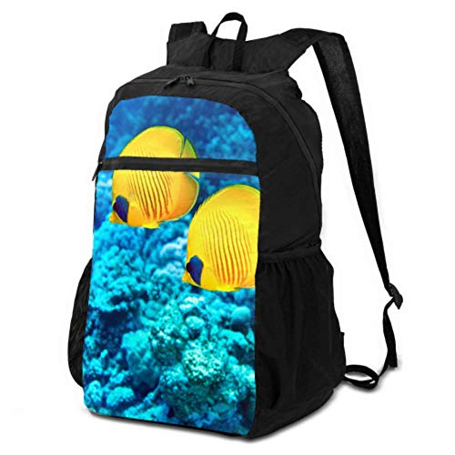 JOCHUAN Traveling Daypack Coral Reefs and Tropical Fish Daypacks for Travel Foldable Day Backpack Lightweight Waterproof for Men & Womentravel Camping Outdoor