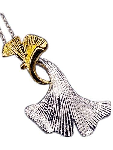 NicoWerk Silberkette mit Anhänger Ginkgoblatt Ginko Blatt Golden Halskette Damen 925 Silber Kette Schmuck SKE143