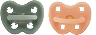HEVEA Coloured Natural Rubber Pacifier with Natural Colour Pigments, Plant Based, Plastic-Free, Non-Toxic, Eco-Friendly, BPA-Free & FDA Approved for Food Contact. (Cantaloupe/Moss Green)
