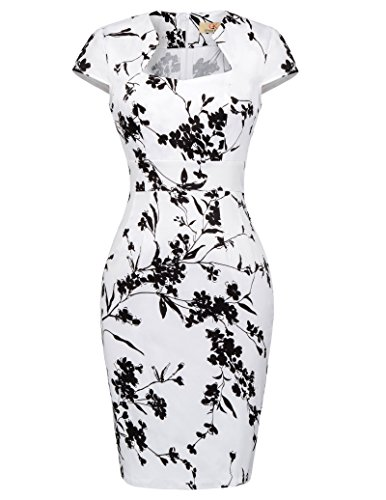 GRACE KARIN 50s Vintage Retro Rockabilly etuikleid Knielang Stretch Kleid Business Kleid L CL7597-19