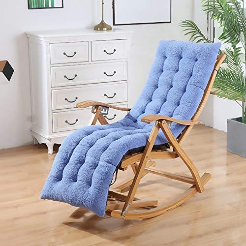 Plush Garden Chair Cushion Recliner Seat Cushion for Garden Patio Rocking Chair Cushion Foldable Chair Pad Rocking Chair Blau 48x155cm(19x61inch)