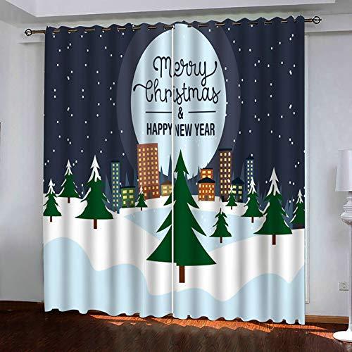 ANAZOZ 2 Paneles Cortinas Salon Cortinas Poliester Habitacion Árboles conMerry Christmas and Happy New Year Gris Blanco Verde Cortinas para Dormitorio Tamaño 214x244CM