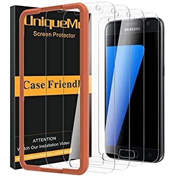 [4 Pack] UniqueMe Screen Protector for Samsung Galaxy S7 Tempered Glass,[Not Fit S7 Active / S7 Edge][Alignment Frame Easy Installation] 9H Hardness Bubble Free Tempered Glass