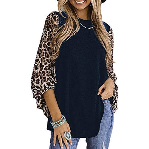 OrientalPort - Maglia a maniche lunghe da donna, leopardato, patchwork, con lanterna sciolta, a maniche lunghe, tunica blu navy L