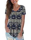 CPOKRTWSO Blue Plus Size Tops Short Sleeve Blouses Tunics for Women Casual, Multi Navy Blue 1X