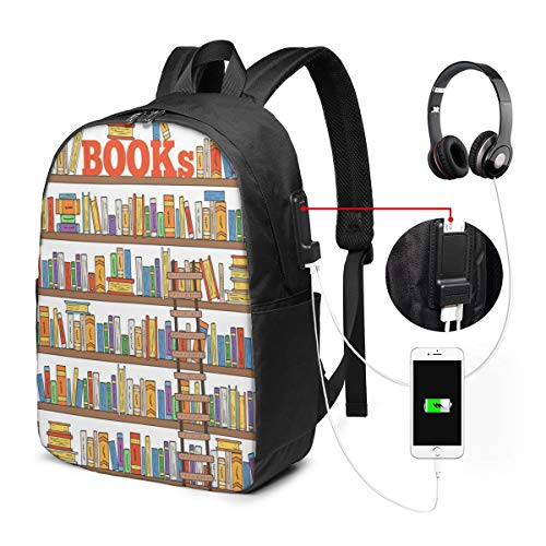 Nicokee Rucksack mit USB-Ladeanschluss, Cartoon-Design, modernes Bücherregal, Mehrfarbig, Sport-Rucksack, für Schule, Büchertasche, 43,2 cm (17 Zoll), für Damen und Herren, Reisen, Gaming, Laptop