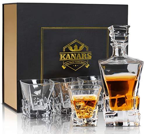 KANARS Whisky Karaffe Set, 800ml Whiskey Dekanter mit 4X 300ml Gläser, Bleifrei Kristallgläser, Schöne Geschenk Box, 5-teiliges, Hochwertig