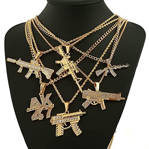 Moda AK47 Revolver Pistola Uzi Collares Pendientes de Las Mujeres de los Hombres de joyería de Hip Hop Collar de Steampunk del Rhinestone de Bling del Oro Cadena Larga