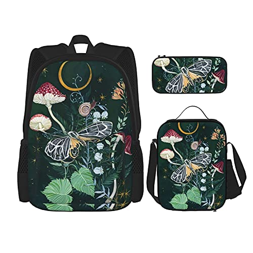 Mushroom Night Moth School Backpack 3 Piece Set For Boys And Girls (School Bag + Pencil Case + Lunch Bag Combination)