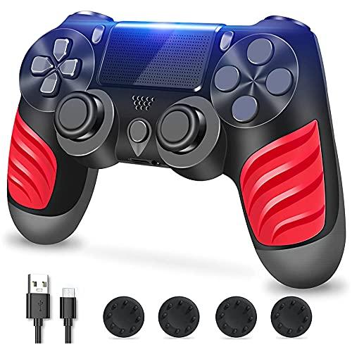 Zcity Mando PS4, Mando Inalámbrico para Playstation 4, Controlador Inalámbrico Gamepad Doble Vibración para Playstion 4, Bluetooth Joystick PS4 con Cable y Agarres para el Pulgar