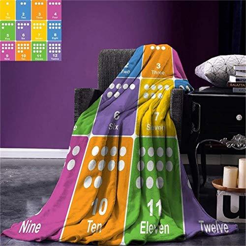 LILANG Manta Warm Kids Activity Throw Blanket Aprender los números Diseño Educativo temático Colorido Patrón Preescolar Manta de Microfibra cálida 100x150cm