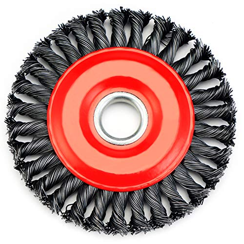 TILAX Wire Wheel Brush, Knotted Twist Wire Wheel for Angle Grinder with 5/8 Inch Arbor, 4 Inch Diameter and 0.019 Inch Carbon Steel Wire for Heavy-Duty Use of Various Metals