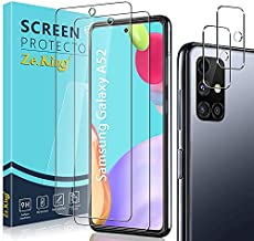 Zeking [6 Pack] 3 Pack Screen Protector with 3 Pack Camera Lens Protector for Samsung Galaxy A52/A52 5G, Tempered Glass HD Clear [Case Friendly] 9H Hardness
