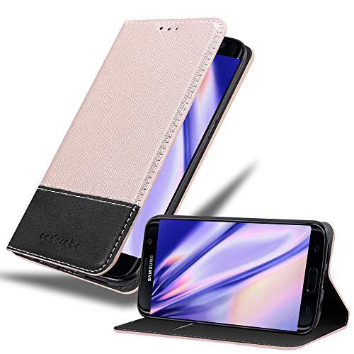 Cadorabo Funda Libro para Samsung Galaxy S7 Edge en Rosa Oro Negro - Cubierta Proteccíon con Cierre Magnético, Tarjetero y Función de Suporte - Etui Case Cover Carcasa