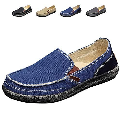 COCOHOME heren vrijetijdsschoen zomer mocassin retro schoenen canvas linnen neaker stoffen schoenen bootschoenen Loafer Slipper, zwart/blauw/grijs/kaki, 38-45 EU